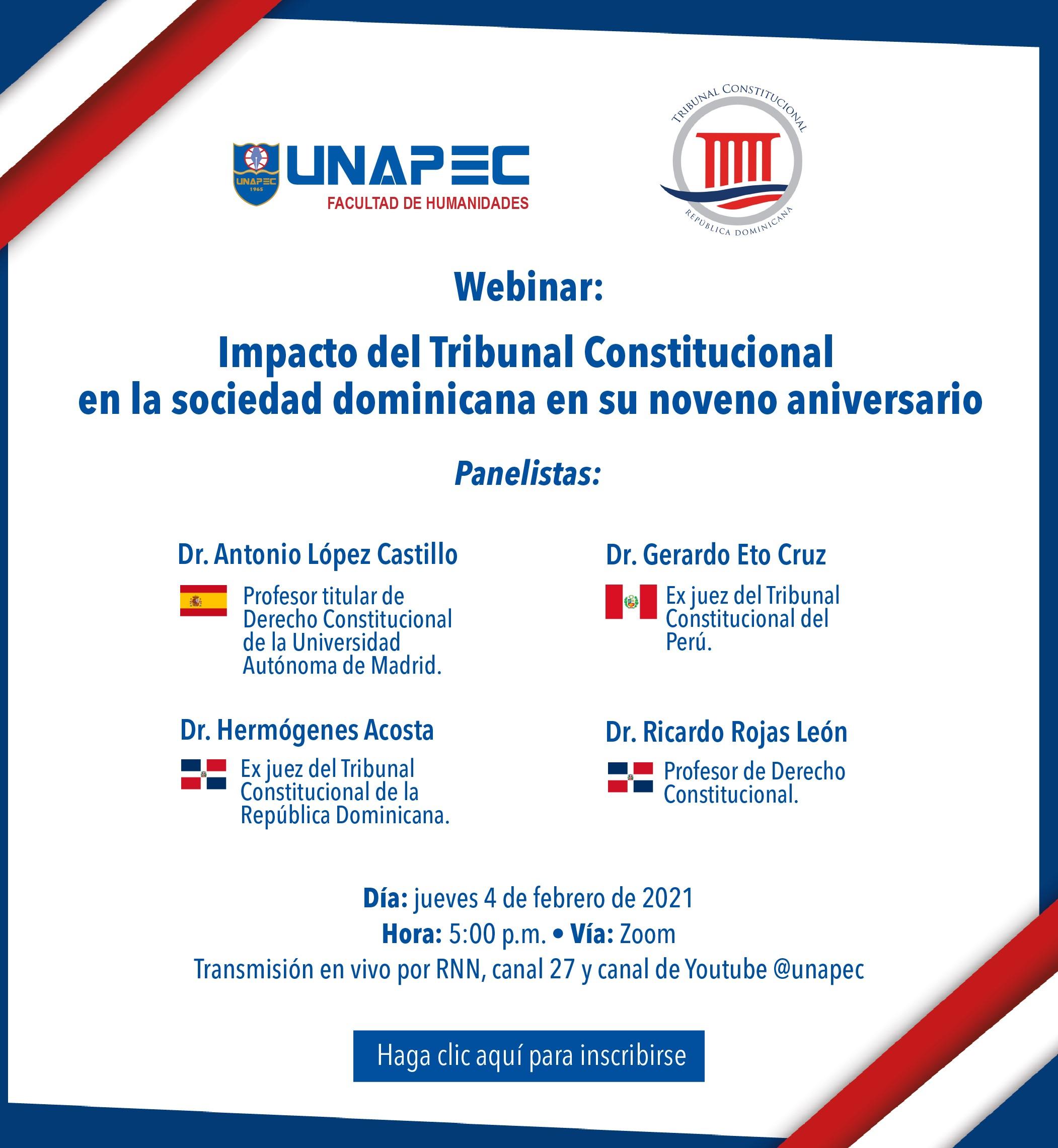 Imagen de Webinar: Impacto del Tribunal Constitucional en la sociedad dominicana en su noveno aniversario